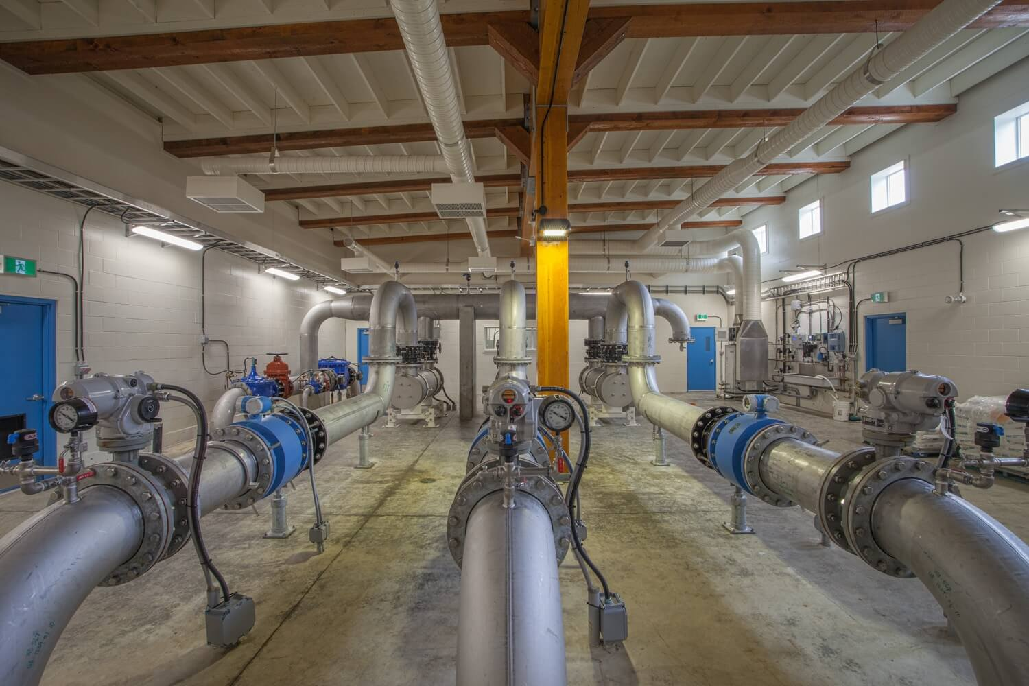 big plumbing pipes in water treatment plant