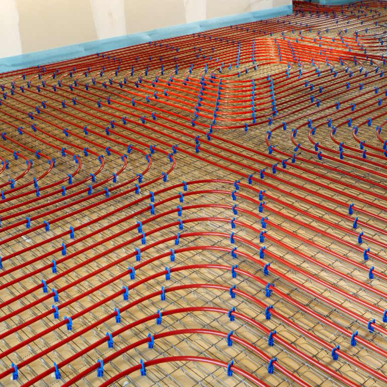 radiant heating pipe installation