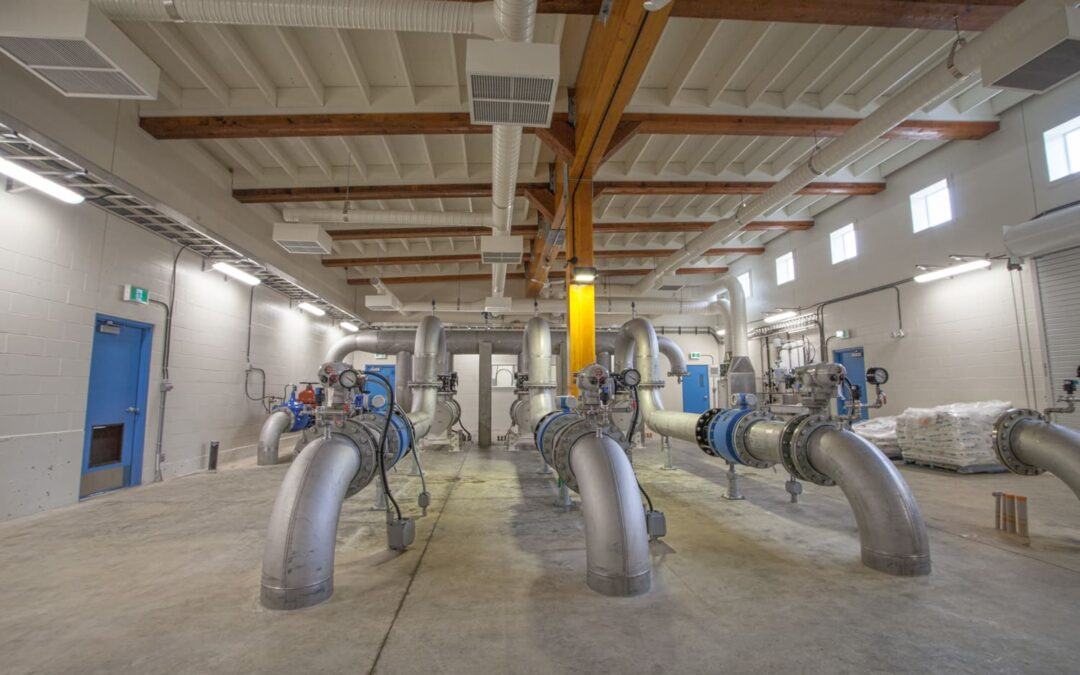 Large pluming pipes installed in water treatment plant